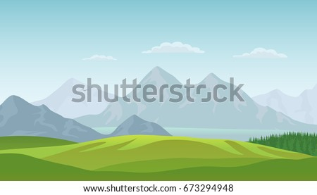 Shutterstock Summer landscape background with green valley, pine forest woods, lake and mountains. Traveling, Extreme Sports, Vacation and Outdoor Recreation Concept, Flat design. Vector