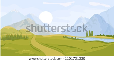 Summer landscape background with green valley, pine forest woods, lake or river and mountains. Spring Traveling, Extreme Sports, Vacation and Outdoor Recreation Concept, Flat design. Vector