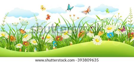 summer landscape banner with