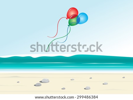 Summer landscape, beach, sea and color balloons
