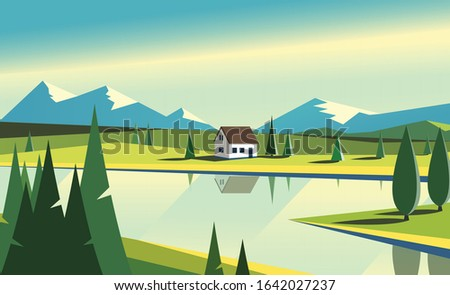 Summer landscape. Country house on the nature with fiels of grass, mountains and bright morning sky. Vector flat illustration Foto stock ©