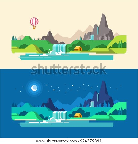 summer landscape  day and night