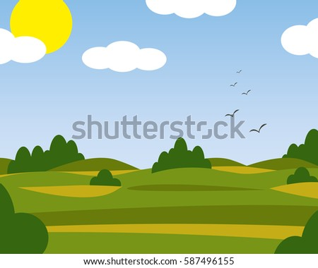 summer landscape green fields