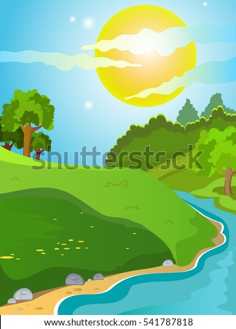 Summer landscape. Landscape on the background of meadows and mountains. Trees stand on a hill. Sunny day. Bright background. Cartoon. Landscape with a River