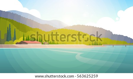 Stock Photo Summer Landscape Mountain Forest Sky Woods Seaside Flat Vector Illustration