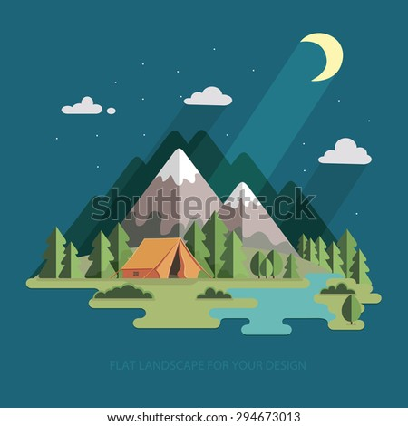 summer landscape night