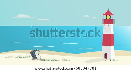 Summer landscape. North Sea at the beach with lighthouse, roofed wicker beach chair and sea gull.