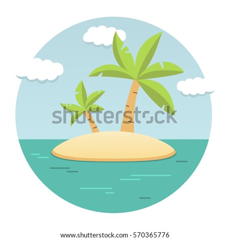 Shutterstock Summer landscape of the tropical island in the ocean with palm trees flat.The sandy beach on the seashore. Rest in the resort.