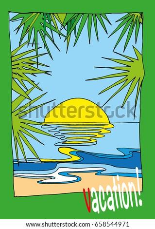 summer landscape  sun  sea