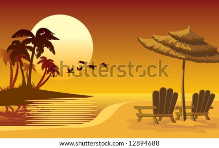 Summer landscape: sunset, beach, chairs and umbrella