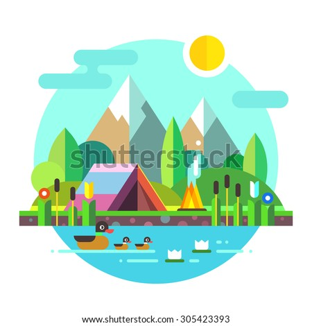 summer landscape  tent and