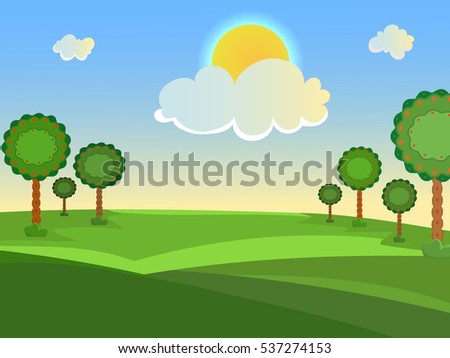 Summer landscape. Trees in the meadow. Clouds and sun. A clear, sunny day. Vector background.