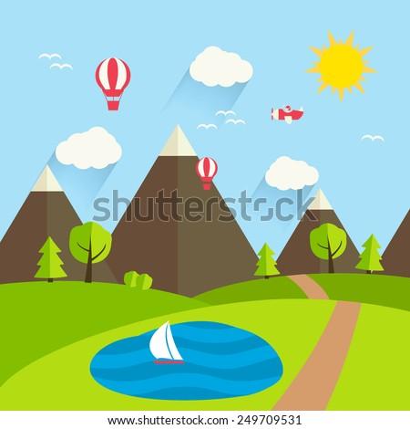 summer landscape  vector