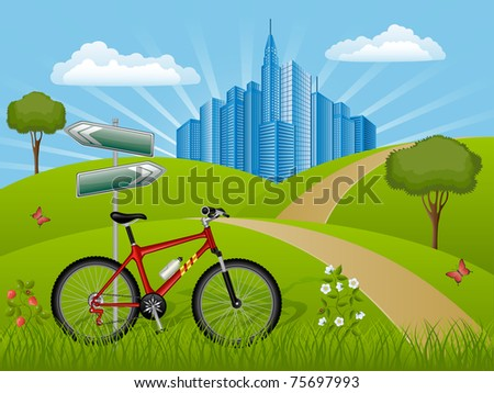 Summer landscape with a bike. Vector illustration.