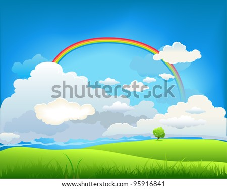 Summer landscape with a rainbow and the lone tree