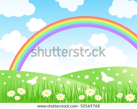 Summer landscape with a rainbow. Vector illustration.