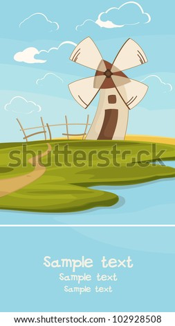 Summer landscape with a wind mil