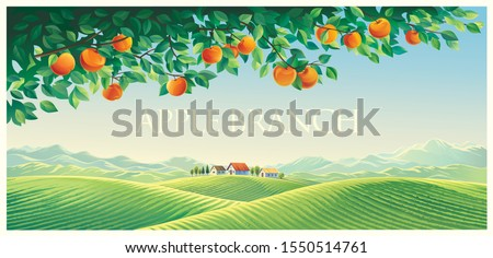 Summer landscape with apple tree branch of an the foreground  and mountains, hills and the village in the background