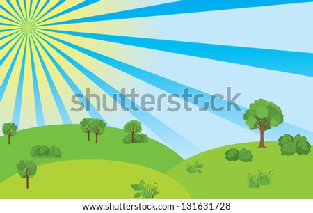 summer landscape with blue sky and sunshine - vector