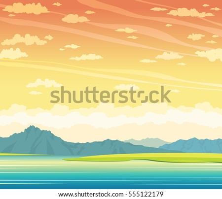 summer landscape with calm lake