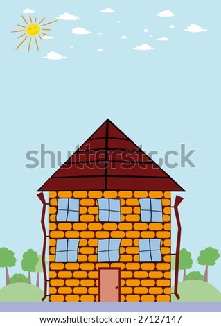 cartoon house door. stock vector : Summer landscape with cartoon house and smiling sun. Vector illustration.