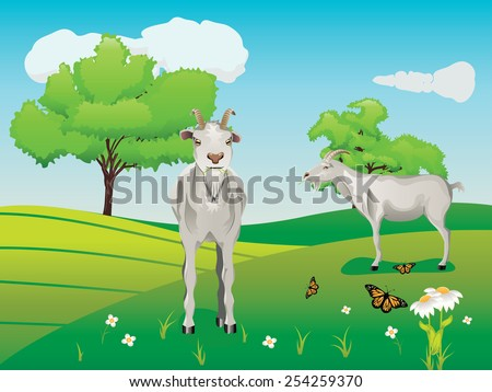 Summer landscape with curious goat, trees, river, flowers and butterflies.