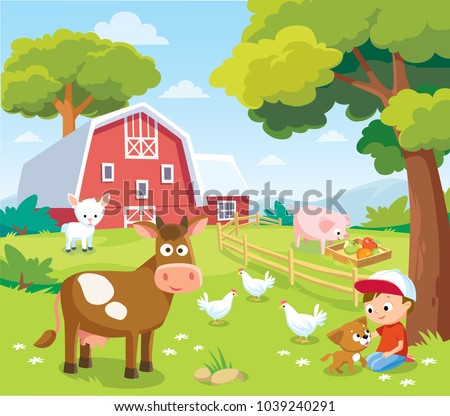 Summer landscape with farm animals and barn.  Farm animals. Summer holidays at the countryside.