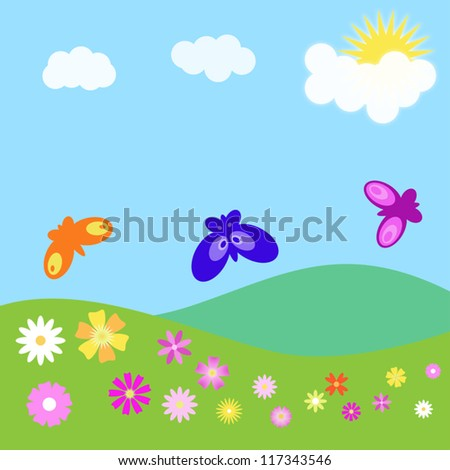 Summer landscape with flowers and butterflies. Vector illustration.