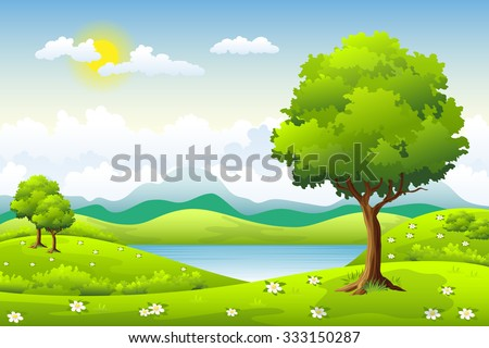summer landscape with flowers