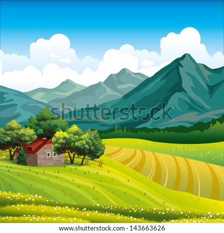 Summer landscape with green field, wooden house in a forest and mountains on a blue sky