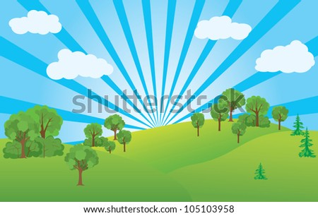 summer landscape with green nature and blue sky - vector