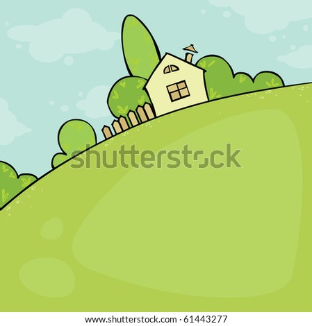 Summer landscape with house