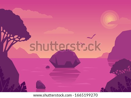 summer landscape with islands