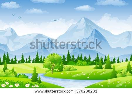 summer landscape with meadows