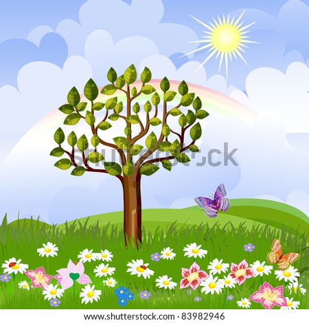 summer landscape with rainbow - stock vector
