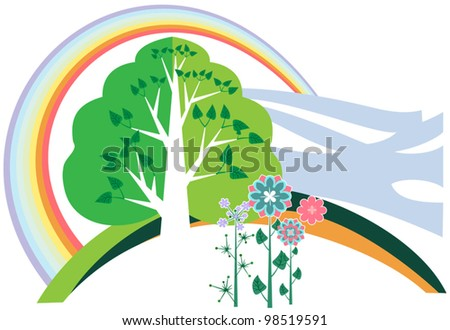 Summer Landscape with Rainbow, wood and bright colors