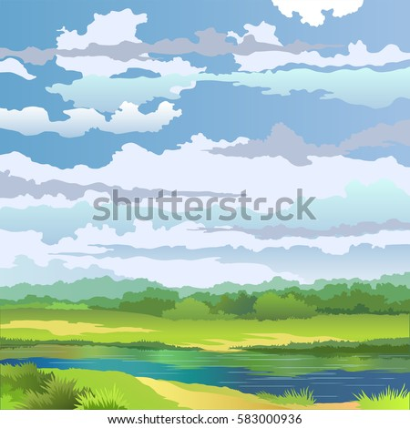 summer landscape with river and