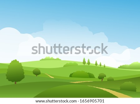 Summer landscape with sky and hills on horizon. Cartoon flat scene with blue skies, green grass pasture fields spring beautiful nature vector illustration