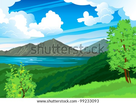 summer landscape with volcano