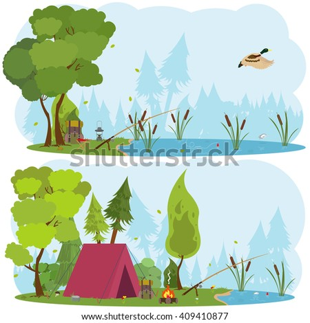 summer landscapes  tent and