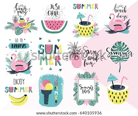 Summer lettering pop art set with holiday Elements. Flamingo, watermelon, ice cream, pineapple, palm, tropic, sun. Typographic design. Vector illustration.