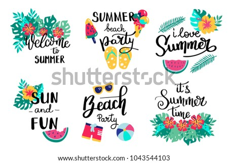 summer lettering set hand