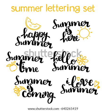 Summer lettering set. Hello summer. Isolated vector object on white background.