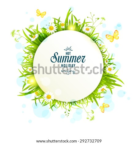 Summer light round frame with daisies. Copy space.