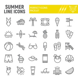 Summer line icon set, travel symbols collection, vector sketches, logo illustrations, beach icons, tourism signs linear pictograms package isolated on white background