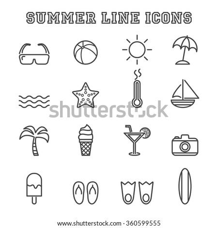 summer line icons  mono vector