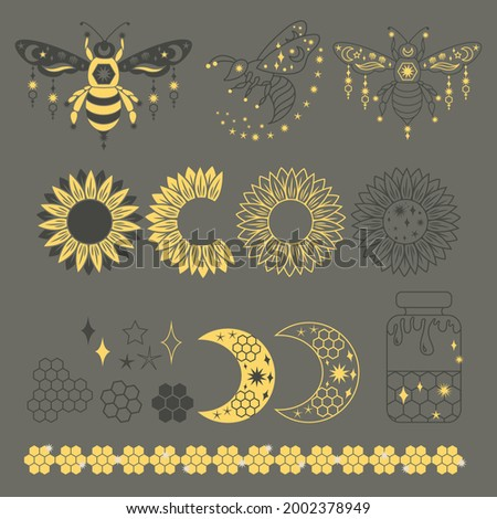 Summer linear clipart for decoration with honey bee, honeycomb, crescent moon, sunflower, jar. Insect outline clipart set. Vector collection of bee for greeting card or posters, for packaging design Foto stock ©