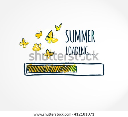Summer loading.  Hello summer concept card.  Progress bar design. Summer begins Creative vector illustration.