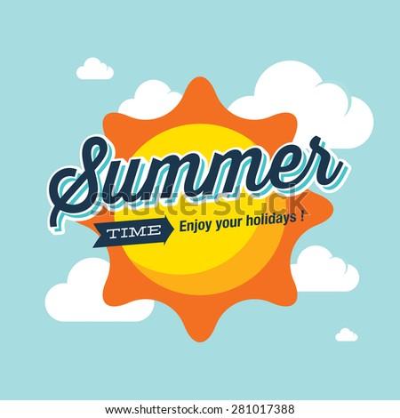 Summer logo vector illustration. Summer time, enjoy your holidays.