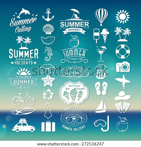 Summer logotypes set. Summer vintage design elements, logos, badges, labels, icons and objects. Summer holidays.